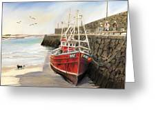 The Pier At Spiddal Galway Ireland Greeting Card by Irish Art