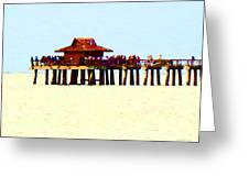 The Pier - Beach Pier Art Greeting Card by Sharon Cummings