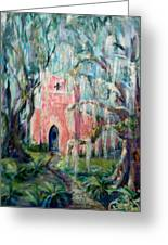 The Pink Chapel Greeting Card by Doralynn Lowe