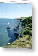 The Pinnacle Stack Of White Chalk From The Cliffs Of The Isle Of Purbeck Dorset England Uk Greeting Card by Andy Smy