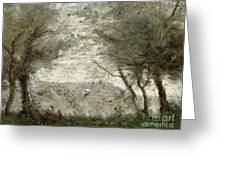 The Pond Greeting Card by Jean Baptiste Corot