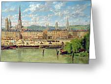The Port At Rouen Greeting Card by Torello Ancillotti