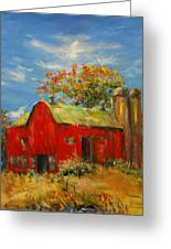 The Porter Barn In Red  Greeting Card by Ann Bailey