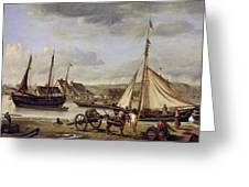 The Quay At Rouen Greeting Card by Jean Baptiste Camille Corot