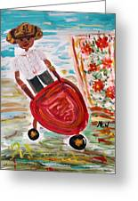The Red Steel Barrow Greeting Card by Mary Carol Williams