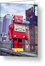 The Red Tin Robot In China Greeting Card by Luca Oleastri