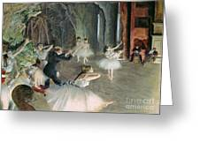 The Rehearsal Of The Ballet On Stage Greeting Card by Edgar Degas