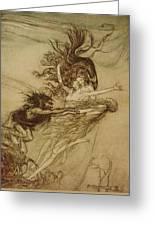 The Rhinemaidens Teasing Alberich Greeting Card by Arthur Rackham