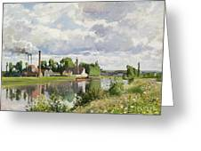 The River Oise Near Pontoise Greeting Card by Camille Pissarro