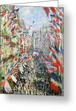 The Rue Montorgueil Greeting Card by Claude Monet
