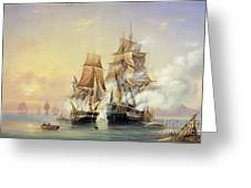 The Russian Cutter Mercury Captures The Swedish Frigate Venus On 21st May 1789 Greeting Card by Aleksei Petrovich Bogolyubov