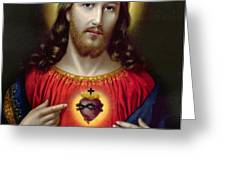 The Sacred Heart of Jesus Greeting Card by English School