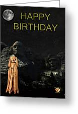 The Scream World Tour Mount Rushmore Happy Birthday Greeting Card by Eric Kempson