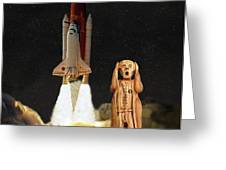 The Scream World Tour Space Shuttle Lift Off Greeting Card by Eric Kempson