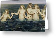 The Sea Maidens Greeting Card by Evelyn De Morgan