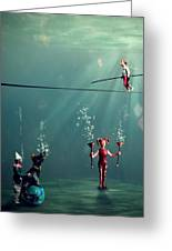 The Secret Venetian Circus Greeting Card by Martine Roch