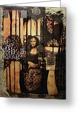 The Secrets Of Mona Lisa Greeting Card by Michael Kulick