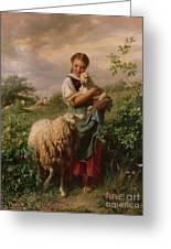 The Shepherdess Greeting Card by Johann Baptist Hofner