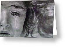 The Shy Cry Girl Greeting Card by Mickey Raina