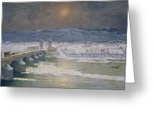The Snow In The Auvergne Greeting Card by Albert Charles Lebourg