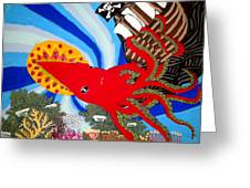 The Squid And The Pirate Ship Greeting Card by Nick Reaves
