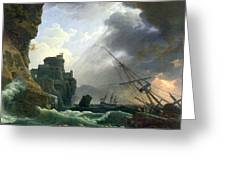 The Storm Greeting Card by Claude Joseph Vernet