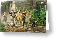 The Street Urchins Greeting Card by F Palizzi