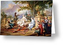 The Sultana Served By Her Eunuchs Greeting Card by Charles Amedee Philippe van Loo