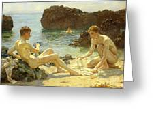The Sun Bathers Greeting Card by Henry Scott Tuke