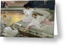 The Swans Greeting Card by Joseph Marius Avy