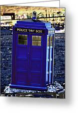 The Tardis Greeting Card by Steve Purnell