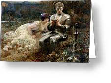 The Temptation Of Sir Percival Greeting Card by Arthur Hacker