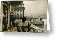 The Terrace Of The Trafalgar Tavern Greenwich Greeting Card by James Jacques Joseph Tissot