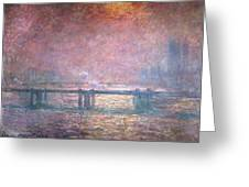 The Thames At Charing Cross Greeting Card by Claude Monet