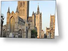 The Three Towers of Gent Greeting Card by Marilyn Dunlap
