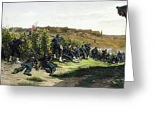 The Tirailleurs De La Seine At The Battle Of Rueil Malmaison Greeting Card by Etienne Prosper Berne-Bellecour