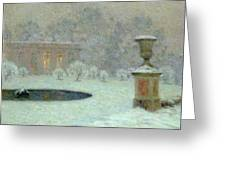 The Trianon Under Snow Greeting Card by Henri Eugene Augustin Le Sidaner