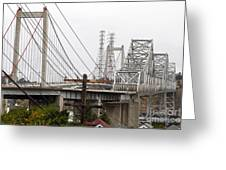 The Two Carquinez Bridges At Crockett And Vallejo California . Aka Alfred Zampa Memorial Bridge . 7d8919 Greeting Card by Wingsdomain Art and Photography