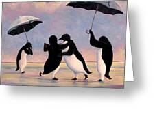 The Vettriano Penguins Greeting Card by Michael Orwick