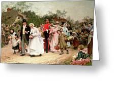 The Village Wedding Greeting Card by Sir Samuel Luke Fildes