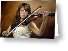 The Violinist Greeting Card by Anne Kushnick