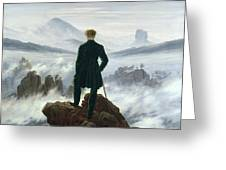The Wanderer above the Sea of Fog Greeting Card by Caspar David Friedrich