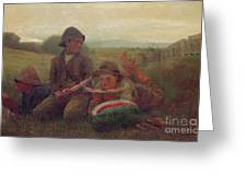The Watermelon Boys Greeting Card by Winslow Homer