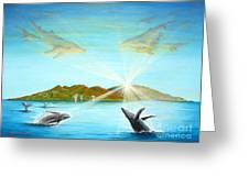 The Whales Of Maui Greeting Card by Jerome Stumphauzer