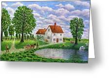 The White Farm Greeting Card by RONALD HABER