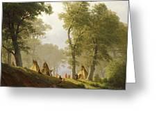 The Wolf River - Kansas Greeting Card by Albert Bierstadt