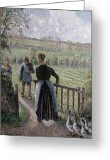 The Woman With The Geese Greeting Card by Camille Pissarro