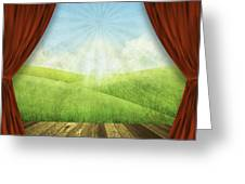 Theater Stage With Red Curtains And Nature Background  Greeting Card by Setsiri Silapasuwanchai