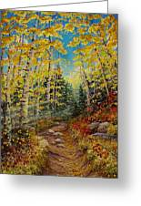There's  A Light Beyond These Woods Greeting Card by Mary Giacomini