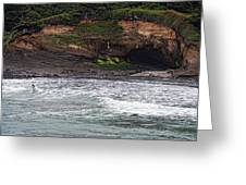This Is Oregon State No.13 - Surfing At Boiler Bay Greeting Card by Paul W Sharpe Aka Wizard of Wonders